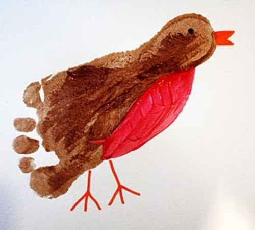 B    Bird:  Robin footprint craft!  For those with 'little ones""