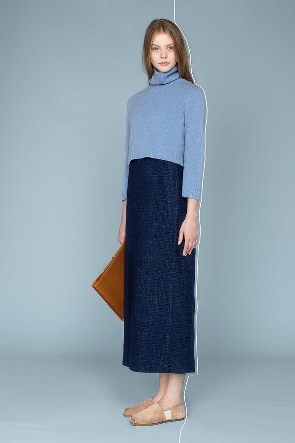 The Row Resort 2014 denim long skirt blue