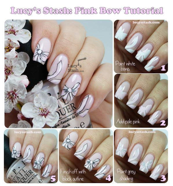 Lucy's Stash: Bridal Pink Bow Nail Art with Tutorial