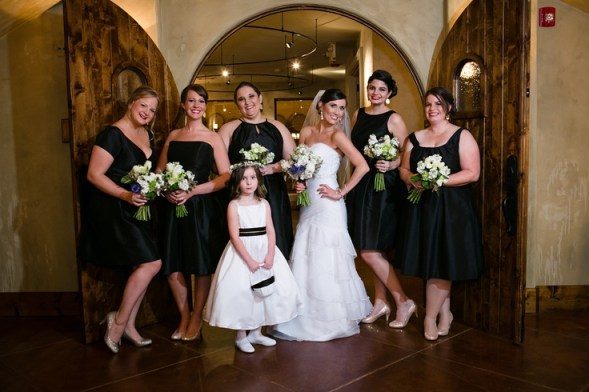 Black Alfred Sung bridesmaid dresses each in a different unique style