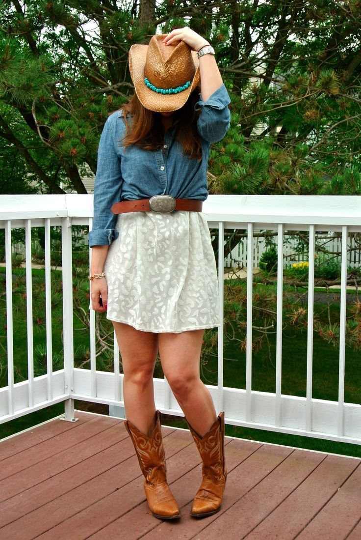 lace dress, chambray, cowboy boots and hat