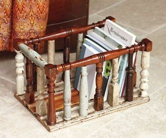 Old chair spindles upcycled into a magazine holder