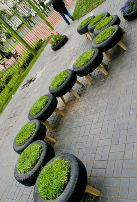 Recycled Tire Planters- Peru: Invasion Verde, installed 2010.