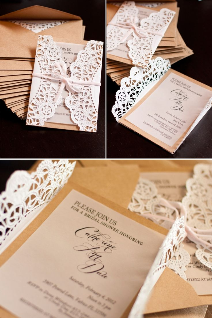 Country Lace Wedding Invitations