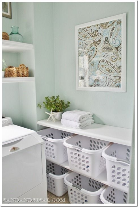 I love this! laundry-room-sorting-station