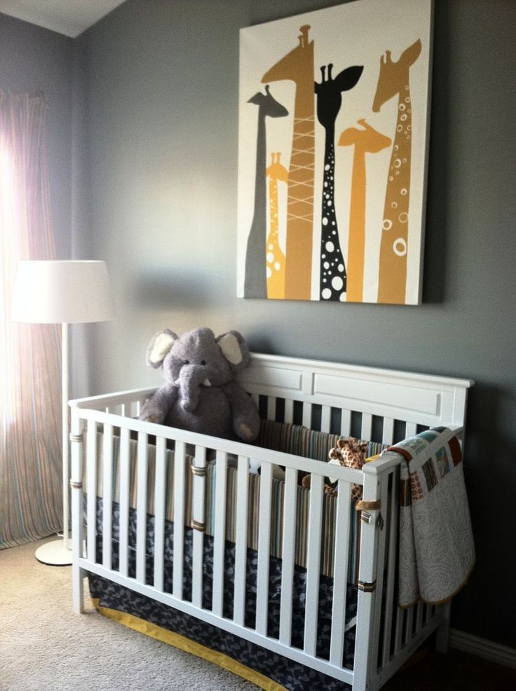 cut-out fabric in shape of animals and attach to painted canvas. LOVE that giraffe picture!