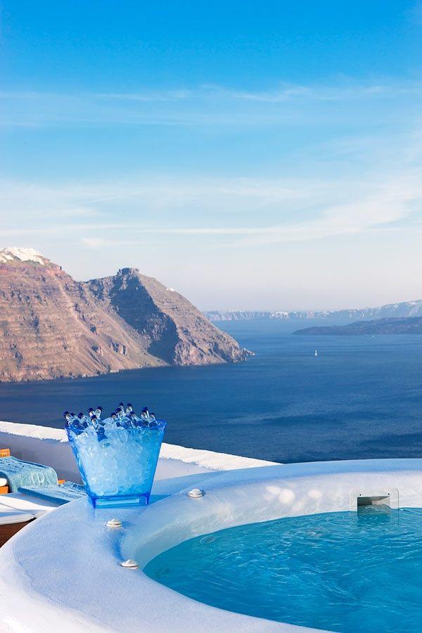 Piscina con vista, Santorini, Grecia