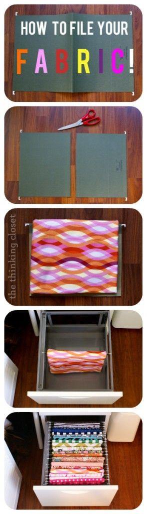 A handy way to organize fabric beautifully.