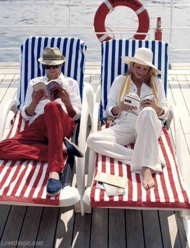 Red white and blue  fashion summer couples boat stripes 4th of july