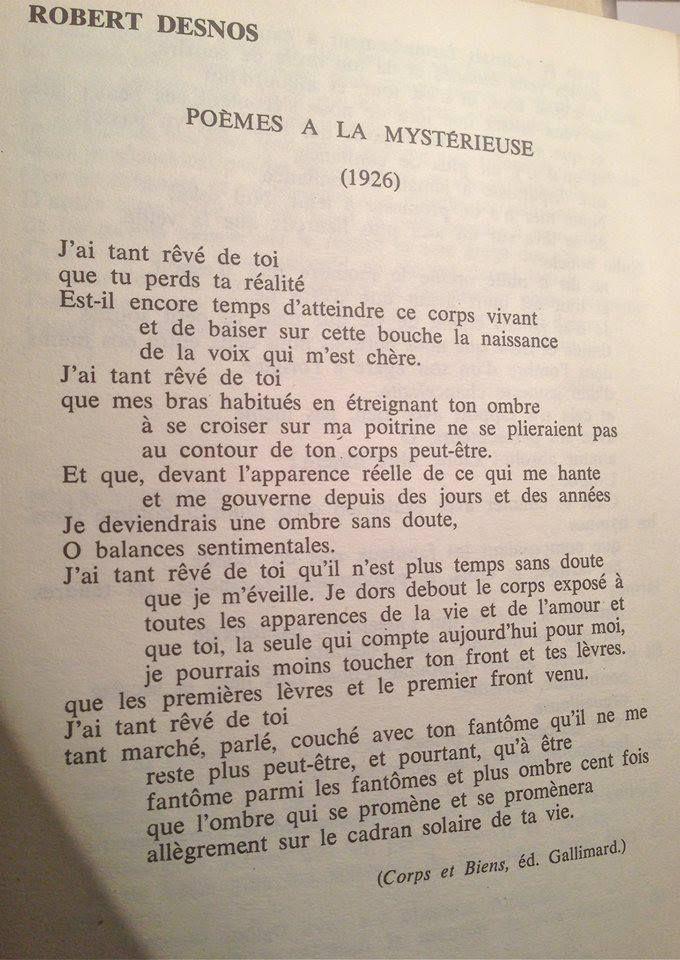 J'ai Tant Reve De Toi : Robert, Desnos, Toujours, Coeur., Ideas, Poetic, Quote,, Poems,, Human, Decency