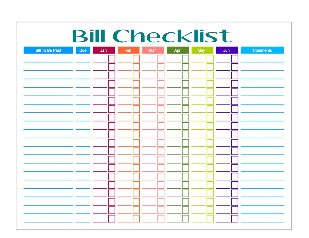 Bill Organizer Template With Images