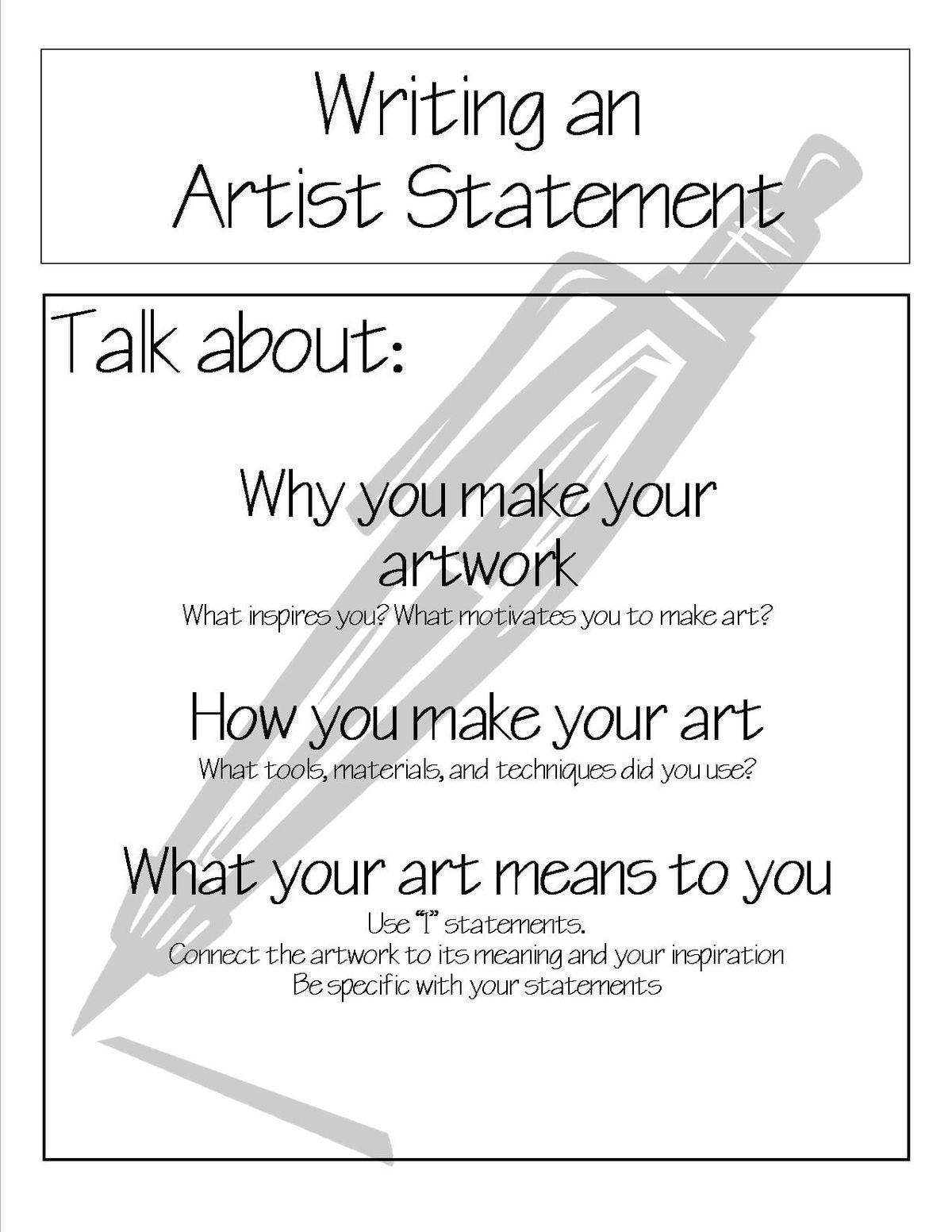 Art Printables Handouts