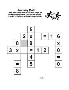 Runaway Math Puzzles Multiplication Math Practice Grades 2