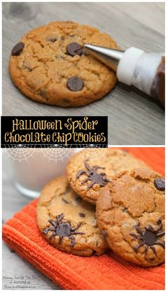Halloween Cookies - Spider Infested Chocolate Chip Cookies