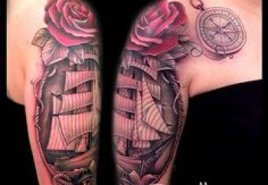 David Mushaney Lighthouse And Ship Half Sleeve Tattoo