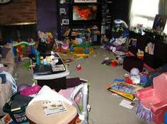 Children's toys sure can make a mess. At least they're having fun!
