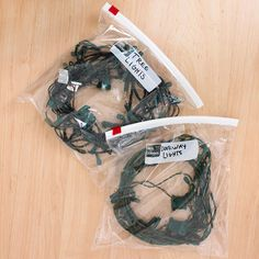 Store Christmas Lights in Labeled Plastic Bags. Use a separate bag for where they go. makes it a lot easier to set up.