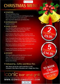 Iconic #Lowestoft #Christmas #menu