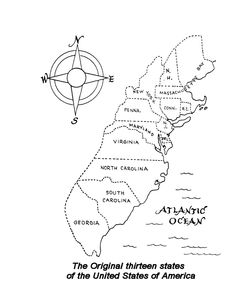 Black And White Map Of The First 13 Colonies In Spanish