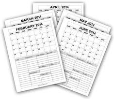 Monthly Calendars for 2014