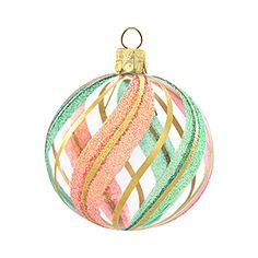 clear ornament with pink, aqua, and gold glitter stripes.