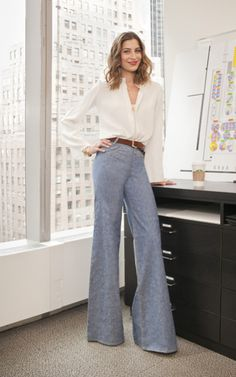Spring / summer - work outfit - business casual - flare pale blue pants + white blouse + brown accessories - very 70s!