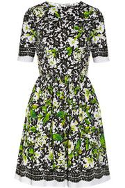 Oscar de la Renta Printed stretch-cotton poplin dress Mid-length sleeve