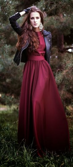 burgundy long maxi dress paired with a leather jacket.
