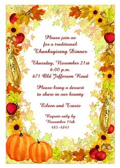Thanksgiving Invitations on Pinterest  Thanksgiving