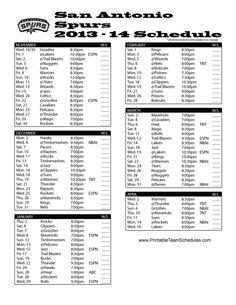 Printable Team Schedules on Pinterest