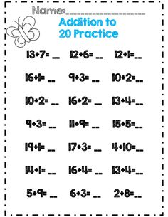 addition to 20 practice part of 30 page math and ela