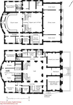 Middlesex Sessions House. Ground- and first-floor plans in