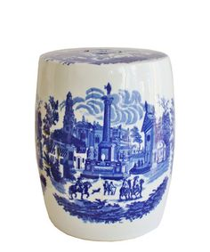LOVE Vintage Blue & White Ceramic Garden Stool $145