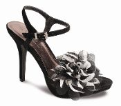 Fun and colourful strappy heels with multicolour stripy flower detail, buckle fastening,reapshop.co.uk