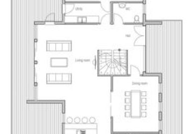 Contemporary House Plan To Wide Lot Two Living Areas