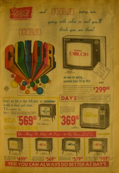 The first Color TV's were sold in the 1950's, but most Americans did not enjoy them until the late 1960's. Here's a Day's Color TV ad from 1968.