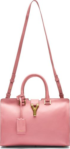 Saint Laurent: Rose Leather Ligne Y Small Cabas Tote