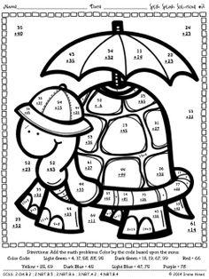 Splish Splash Solutions: Spring Math Printables Color By