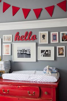 gray and red baseball nursery