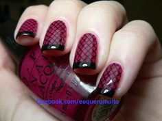Black & red fishnet french tip.