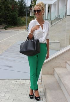 White blouse, green trousers and messy bun. Gorge.