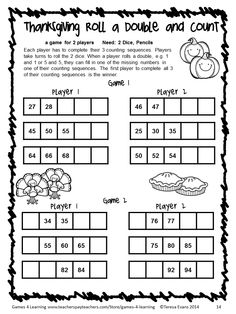 No Prep Thanksgiving Counting Game from Thanksgiving Math