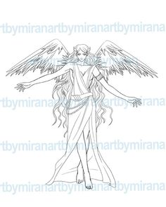 Angel illustration Digital Coloring page Digital by
