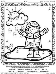 Splish Splash Solutions: Spring Math Printables Color By
