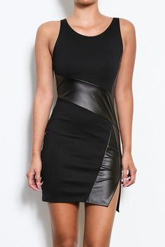lady in leather vegan leather panel dress