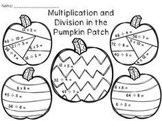 Halloween Pumpkin Color By Number Multiplication Sketch