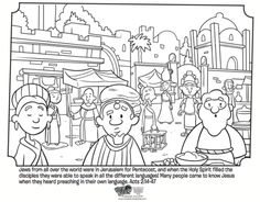 Pentecost Free Coloring Page based on the Book of Acts