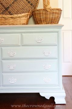 Duck Egg Painted Dresser | The Crowned Goat - Featured at the #HomeMattersParty 53