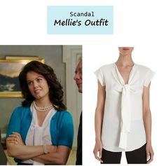 """On the blog: Mellie's (Bellamy Young) silk tie neck blouse 