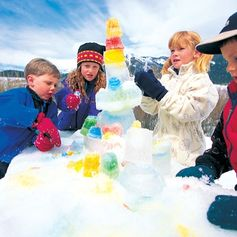 What a fun ice sculpture idea for outdoor play!